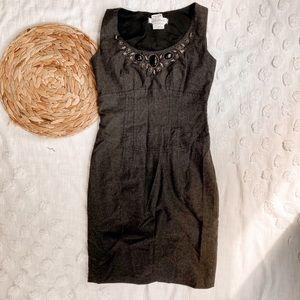 MAXMARA Wool Jewel Neck Sheath Dress Grey Size 8